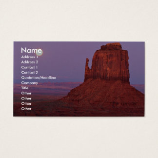 Sunset and moonrise at Mitten Butte, Monument Vall Business Card