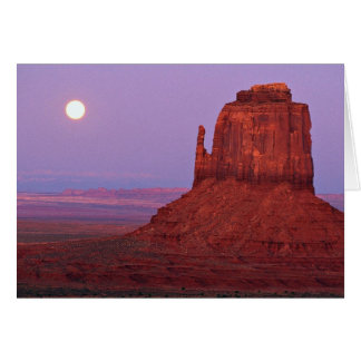 Sunset and moonrise at Mitten Butte, Monument Vall Greeting Card