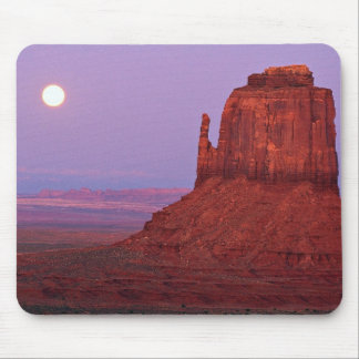 Sunset and moonrise at Mitten Butte, Monument Vall Mouse Pad