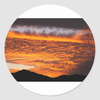 Sunset and mountain photo classic round sticker