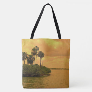 Sunset and Palm Tree Reverie Tote Bag