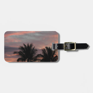 Sunset and palm trees bag tag