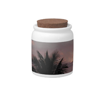Sunset and palm trees candy jars