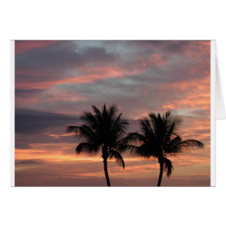 Sunset and palm trees card