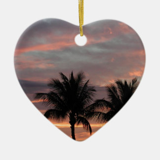 Sunset and palm trees Double-Sided heart ceramic christmas ornament