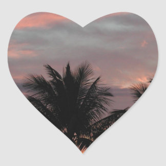 Sunset and palm trees heart sticker