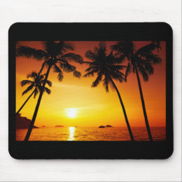 Sunset and Palm Trees Mouse Pad