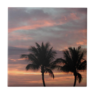 Sunset and palm trees tiles