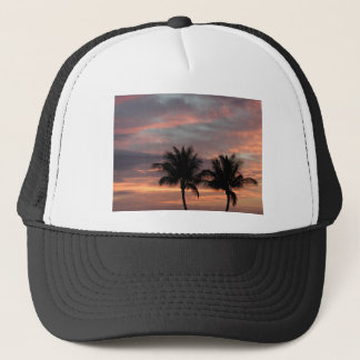Sunset and palm trees trucker hat