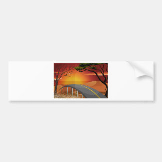 Sunset and road bumper sticker