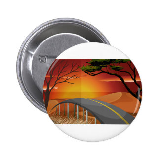 Sunset and road pinback button