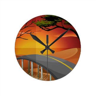 Sunset and road round clock