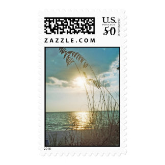 Sunset and sea oats postage