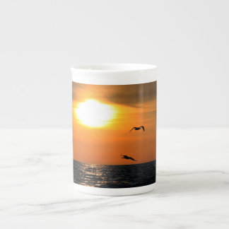 Sunset and seagulls tea cup