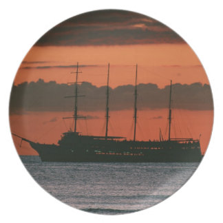 Sunset and Ship Plate