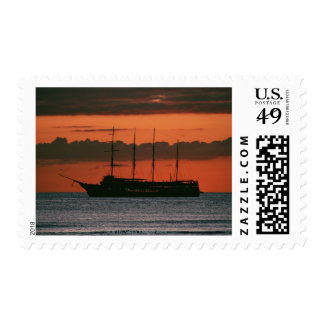 Sunset and Ship Stamp