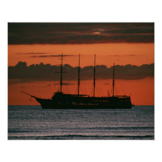 Sunset and Ship Poster