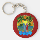Sunset And Surfboards Basic Round Button Keychain