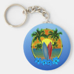 Sunset And Surfboards Keychain