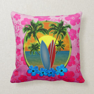 Sunset And Surfboards Pillow
