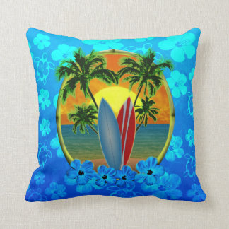 Sunset And Surfboards Pillows