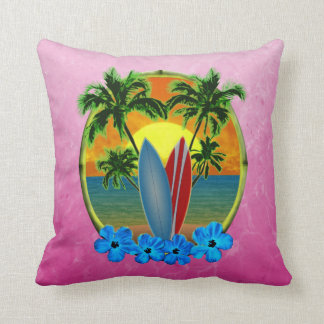 Sunset And Surfboards Throw Pillows
