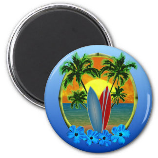 Sunset And Surfboards Refrigerator Magnets