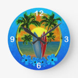 Sunset And Surfboards Round Clock