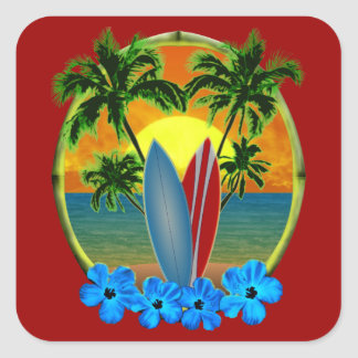 Sunset And Surfboards Square Sticker
