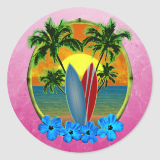 Sunset And Surfboards Round Stickers
