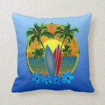 Sunset And Surfboards Throw Pillow