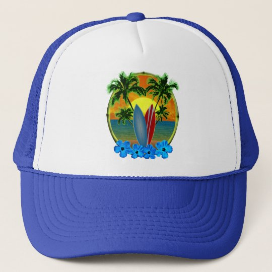 Sunset And Surfboards Trucker Hat
