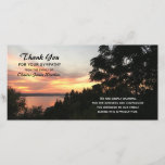 """Sunset and Tree Sympathy Thank You Photo<br><div class=""""desc"""">Looking for a beautiful way to say thank you for your sympathy. This stunning sunset sympathy thank you photo card will send beautiful thank yous for the kindness which has been shown to your family. The design features a photograph of a lake sunset with a tree as a focal point....</div>"""