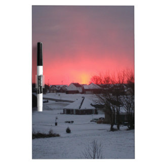 Sunset and Village Dry-Erase Board