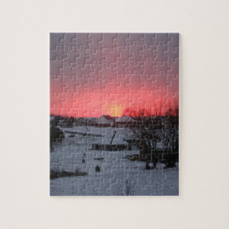 Sunset and Village Jigsaw Puzzle
