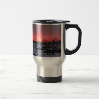 Sunset and Village Travel Mug