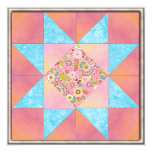 Sunset and Water Floral Quilt Personalized Invitation