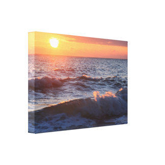 Sunset and Waves Canvas Print