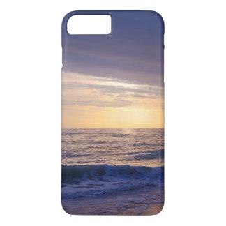Sunset and waves on beach, purple, orange iPhone 7 plus case