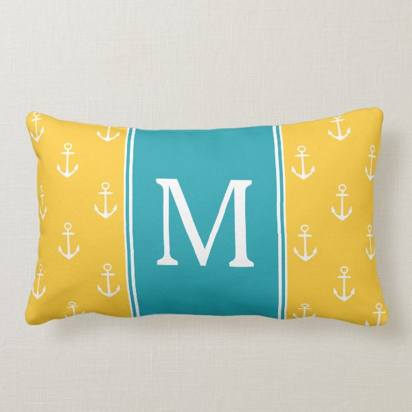 Sunset and White Anchors With Ocean Monogram Lumbar Pillow