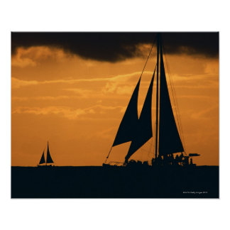 Sunset and Yacht 2 Poster