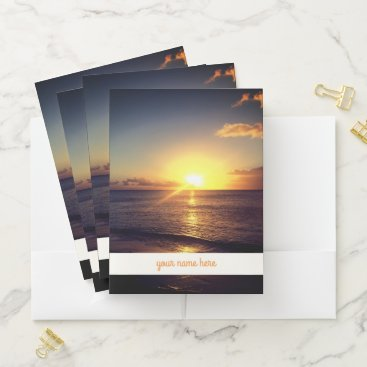 """Beach Themed Sunset and '' Your Name Here """" Pocket Folder"""
