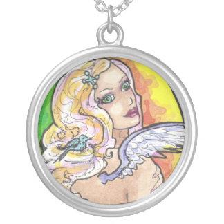 Sunset Angel + Blue Bird fantasy art necklace