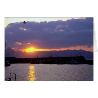 Sunset approach over Crete Harbor Greeting Card