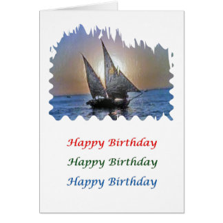 Sunset  Art - HappyBirthday Sail Boat Card