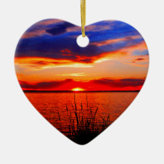 Sunset Art Double-Sided Heart Ceramic Christmas Ornament