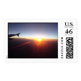 Sunset at 30,000 feet postage stamp