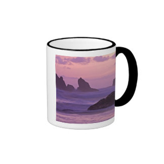Sunset at Bandon Beach Sea Stacks. Mugs
