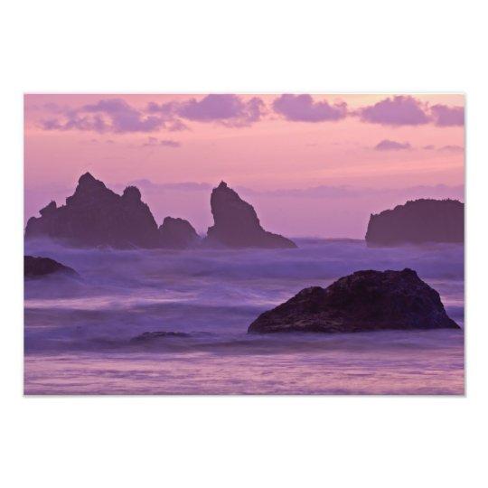 Sunset at Bandon Beach Sea Stacks. Photo Print