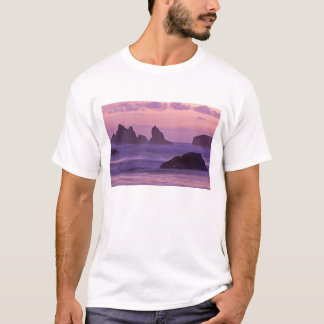 Sunset at Bandon Beach Sea Stacks. T-Shirt